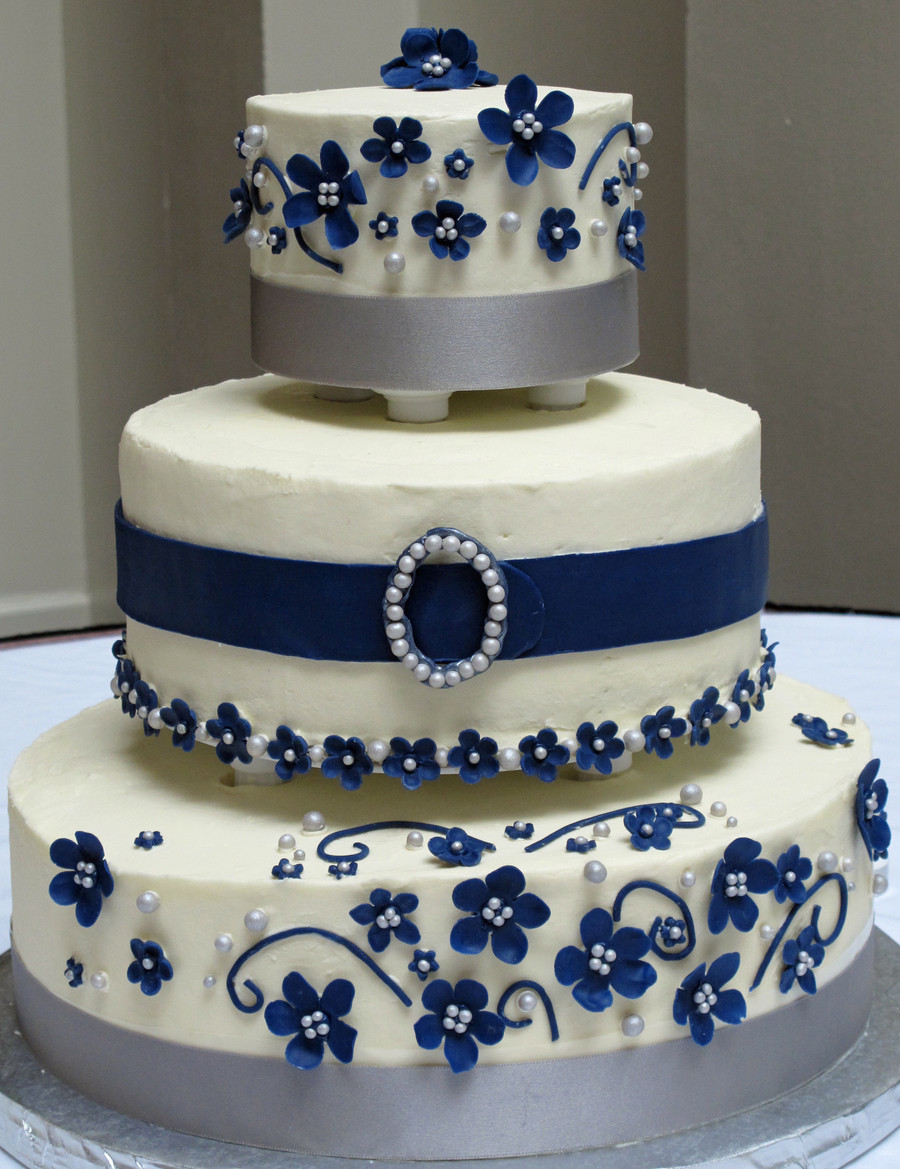 Navy Blue Wedding Cakes  White Navy And Silver Wedding Cake CakeCentral