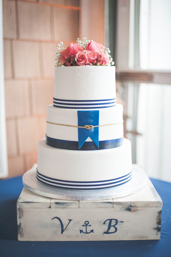 Navy Blue Wedding Cakes  Navy Blue and Coral Nautical Wedding by Shannon Moffit