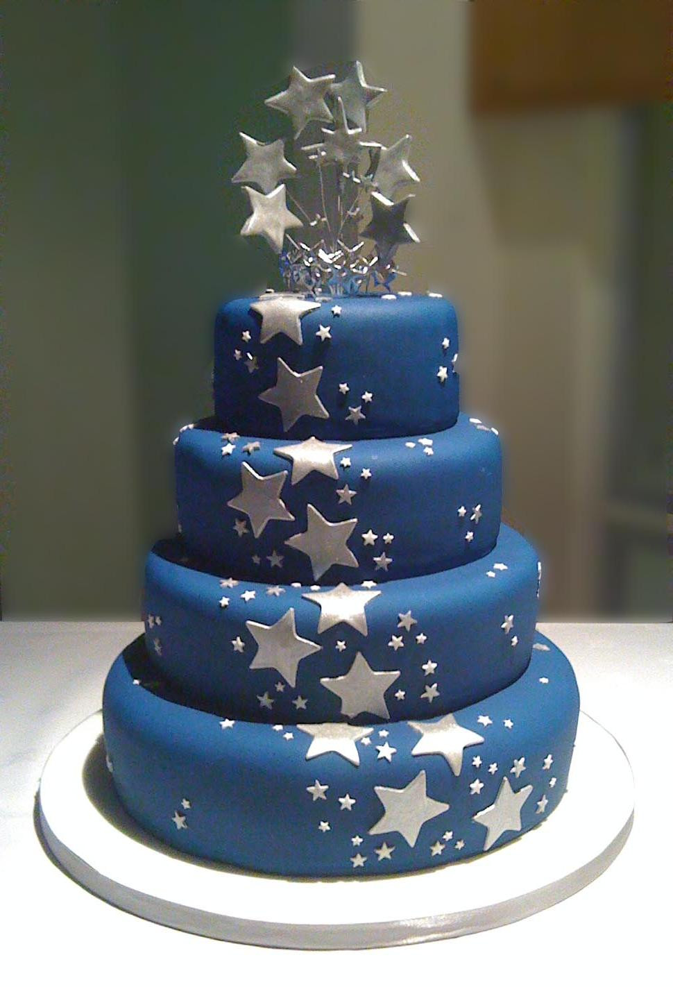 Navy Blue Wedding Cakes  Navy blue and silver wedding cakes idea in 2017