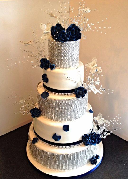 Navy Blue Wedding Cakes  Navy blue & diamond Wedding Cake cake by mike525