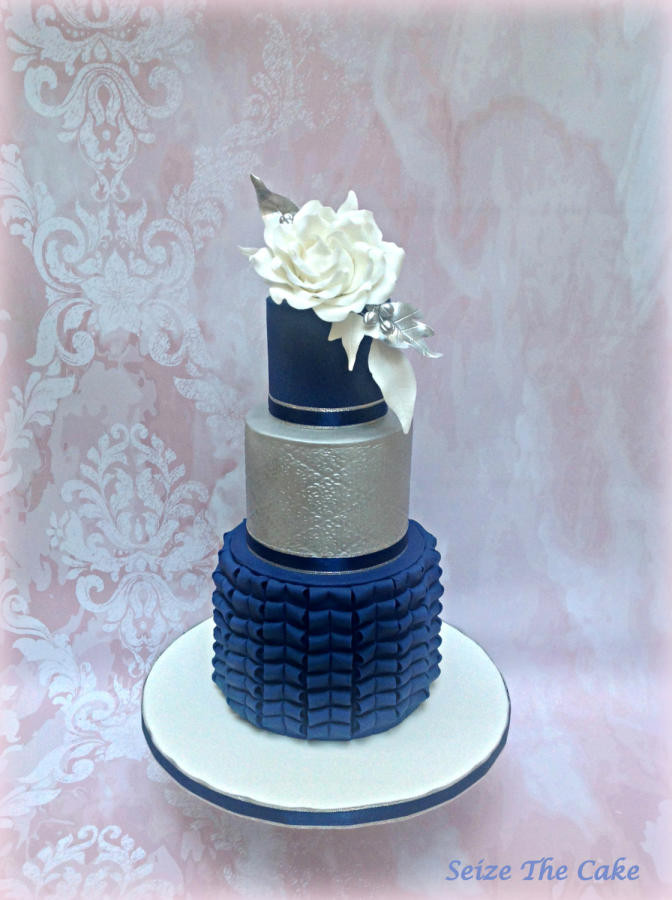 Navy Blue Wedding Cakes  Navy Blue and Silver Wedding Cake cake by Seize The Cake