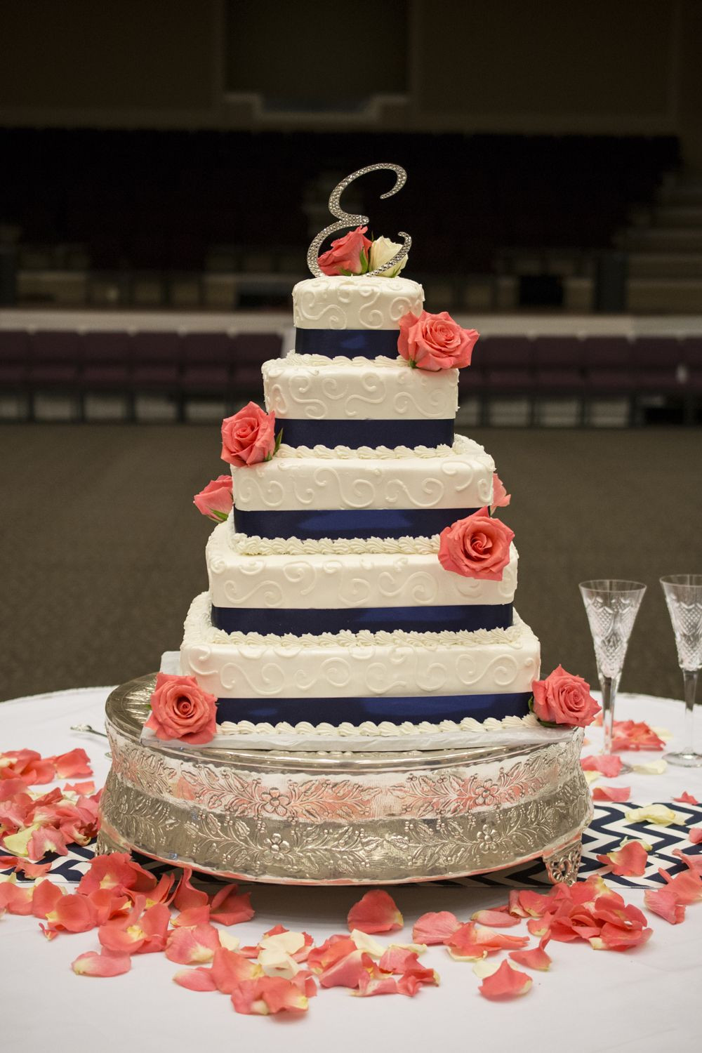 Navy Blue Wedding Cakes  Navy Blue And Coral Wedding Cakes images