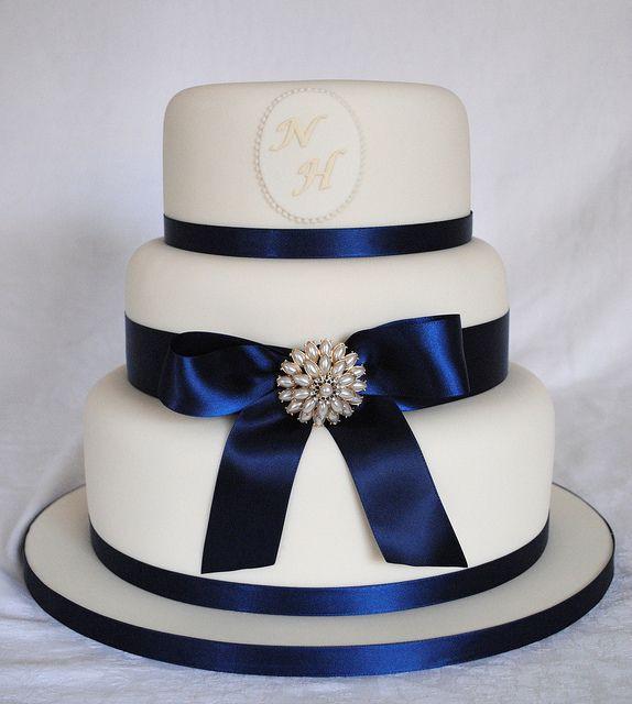 Navy Blue Wedding Cakes  Ivory and Navy Wedding Cake