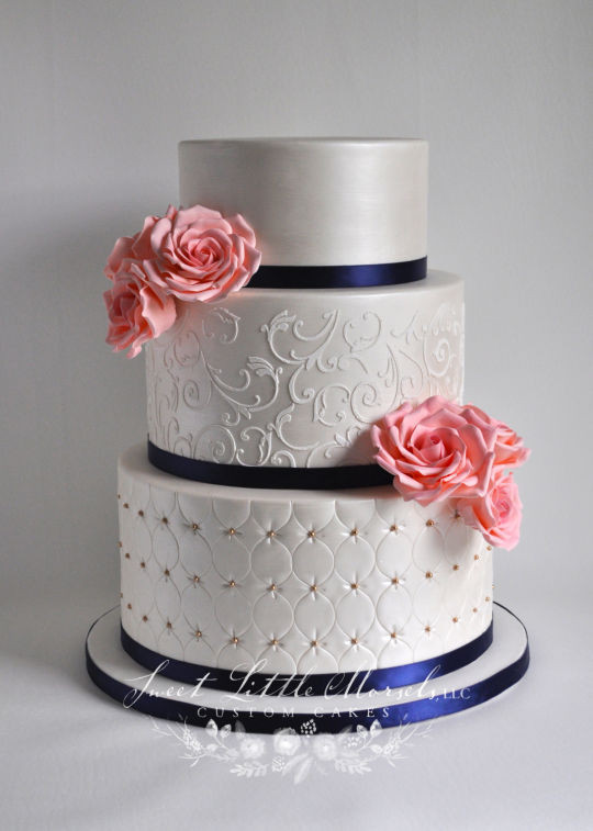 Navy Blue Wedding Cakes  Wedding Cake with Coral Sugar Roses cake by Stephanie