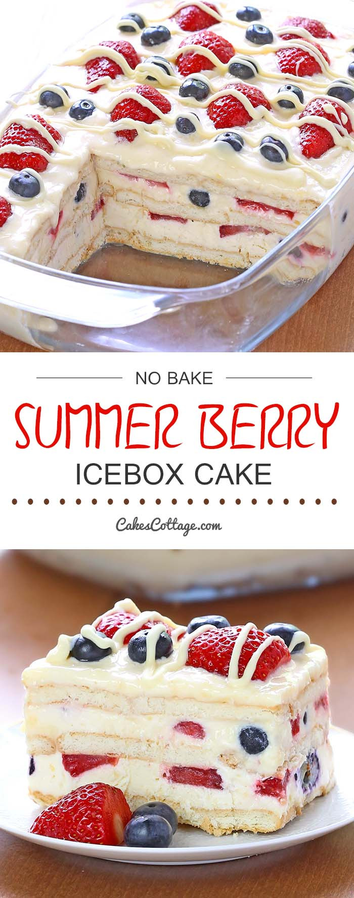 No Bake Desserts For Summer  No Bake Summer Berry Icebox Cake Cakescottage