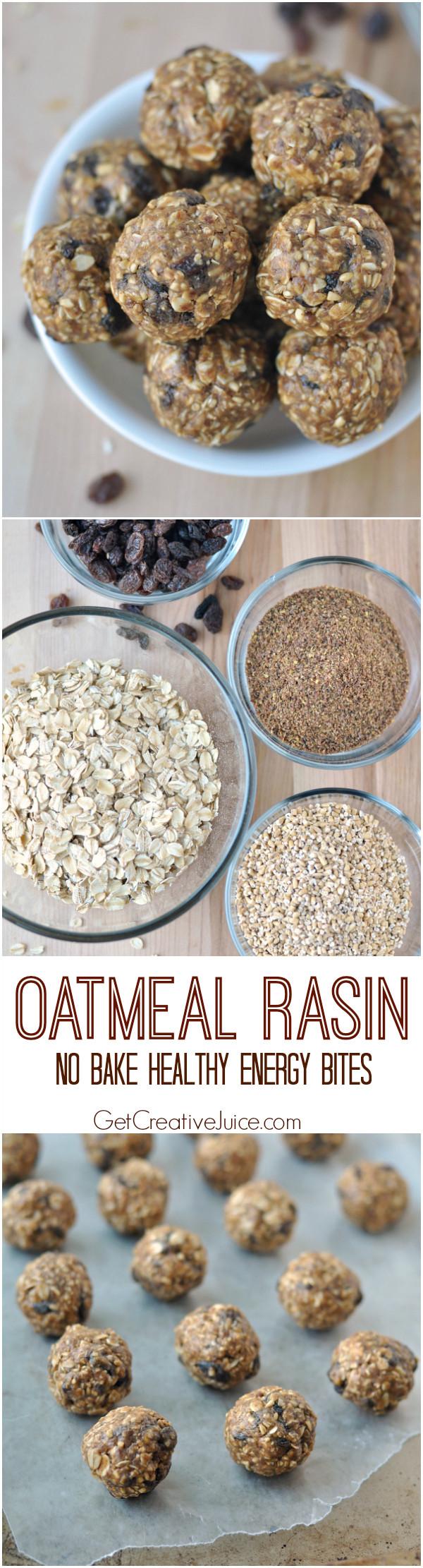 No Bake Healthy Snacks  Oatmeal Raisin Energy Bites No Bake & Healthy