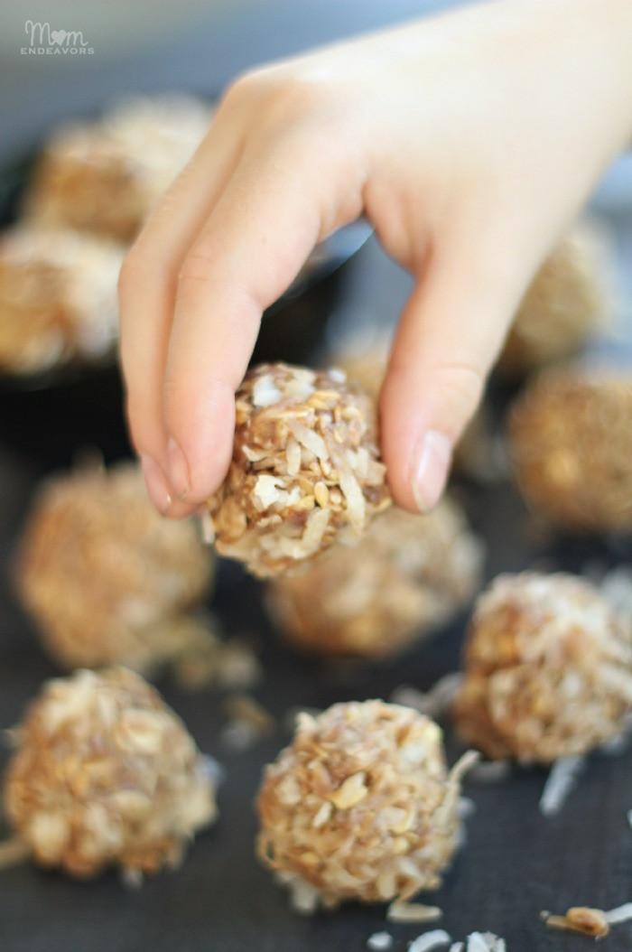 No Bake Healthy Snacks  No Bake Peanut Butter Coconut Snack Bites