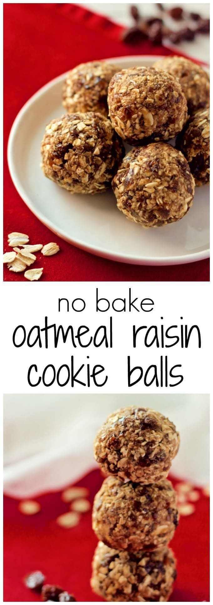 No Bake Oatmeal Cookies Healthy  No bake oatmeal raisin cookie balls Family Food on the Table