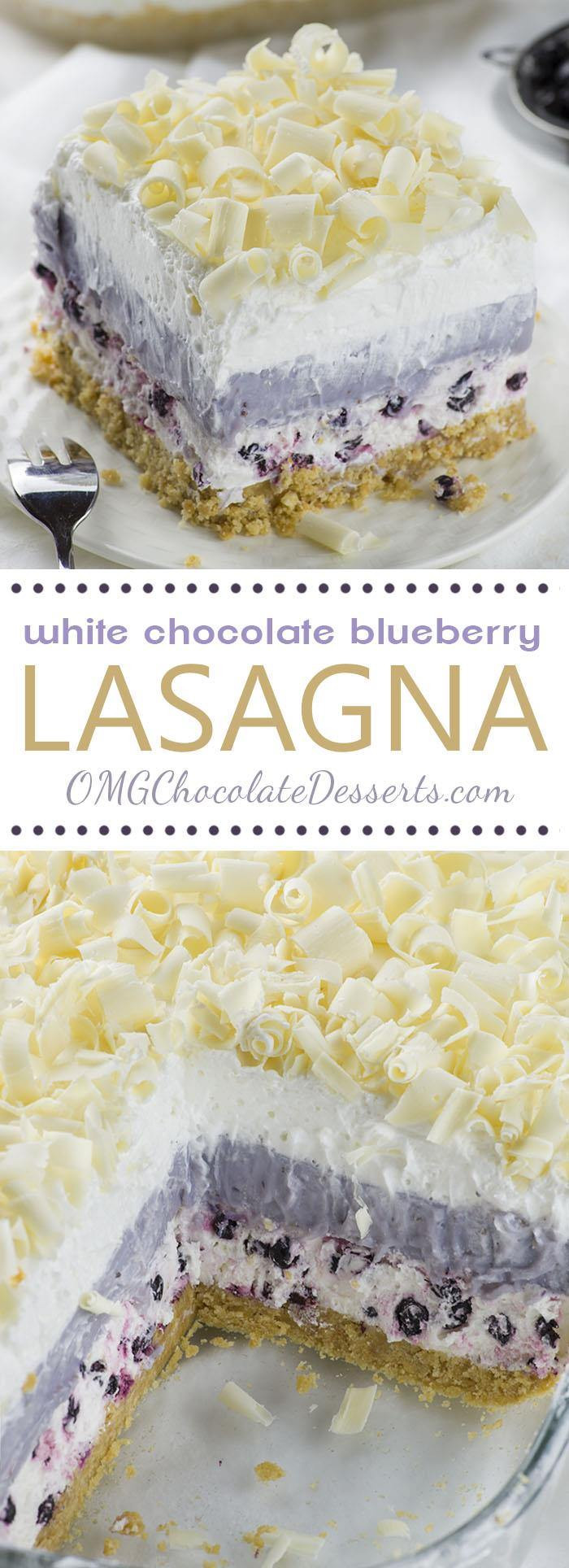No Bake Summer Berry Lasagna  White Chocolate Blueberry Lasagna
