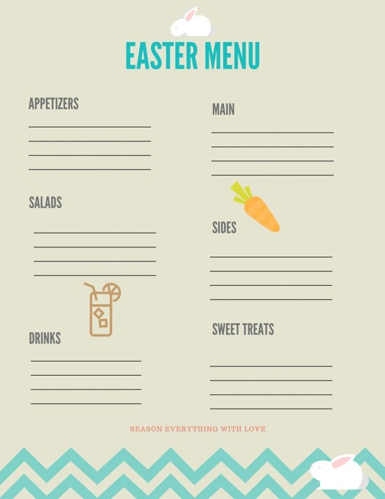 Non Traditional Easter Dinner  Easter Menu Printable and My Non Traditional Easter Dinner