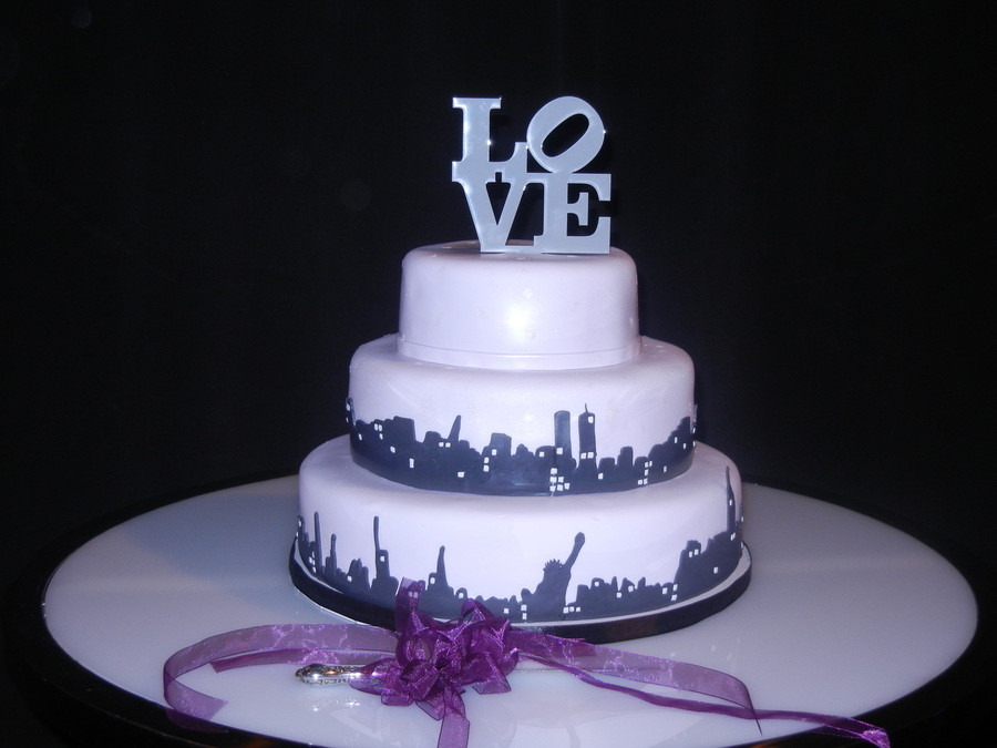 Nyc Wedding Cakes  Love New York Skyline Wedding Cake CakeCentral