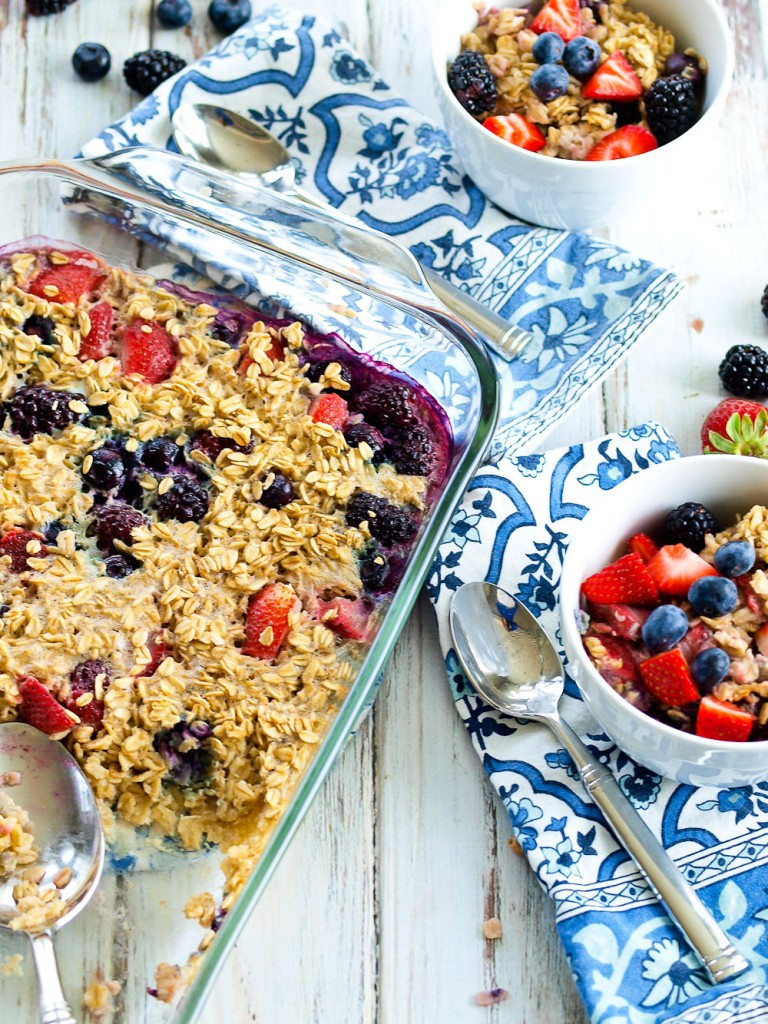 Oatmeal Breakfast Bake Healthy  Triple Berry Baked Oatmeal Happy Healthy Mama