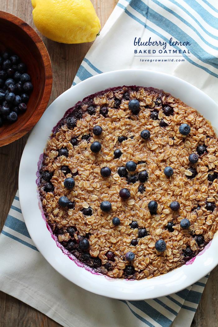 Oatmeal Breakfast Bake Healthy  Blueberry Lemon Baked Oatmeal Love Grows Wild