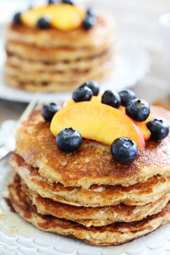 Oatmeal Pancakes Healthy  whole wheat oatmeal pancakes from scratch