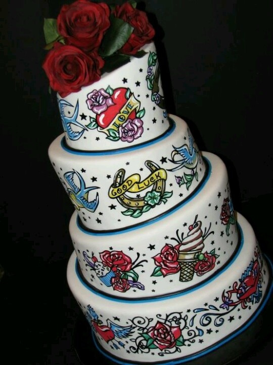 Old School Wedding Cakes  Old school tattoo decorated wedding cake