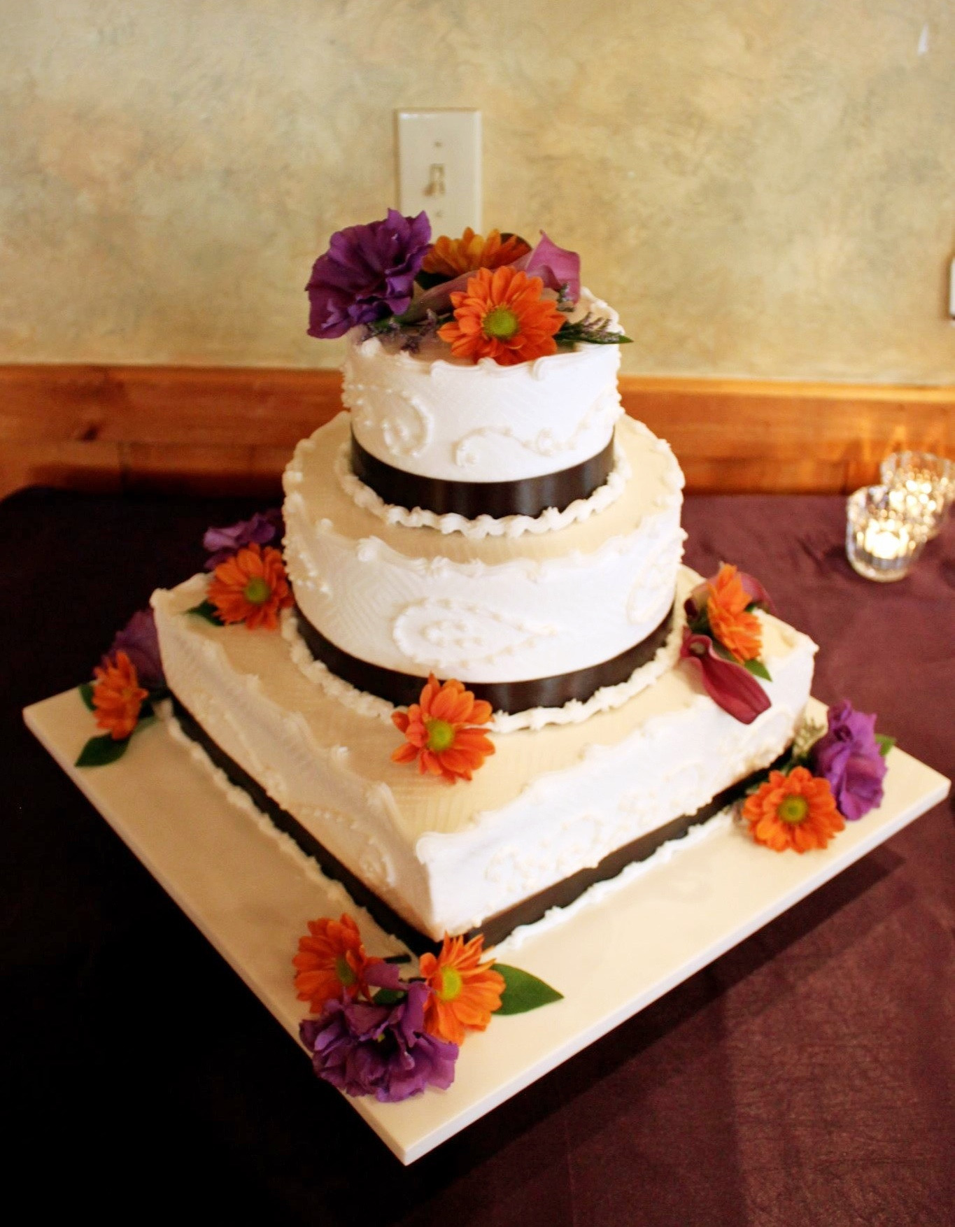 Orange And Purple Wedding Cakes  Purple and orange wedding cakes idea in 2017