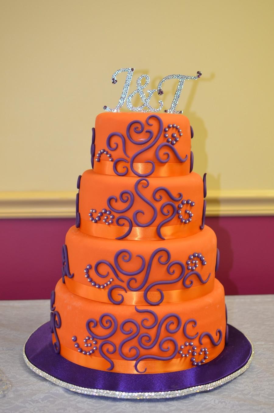 Orange And Purple Wedding Cakes  Orange And Purple Wedding Cake CakeCentral
