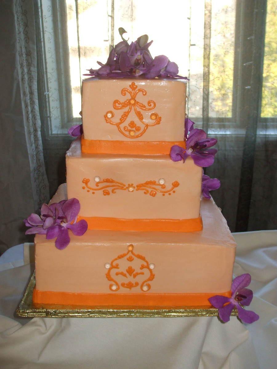 Orange And Purple Wedding Cakes  Purple And Orange Wedding Cake CakeCentral