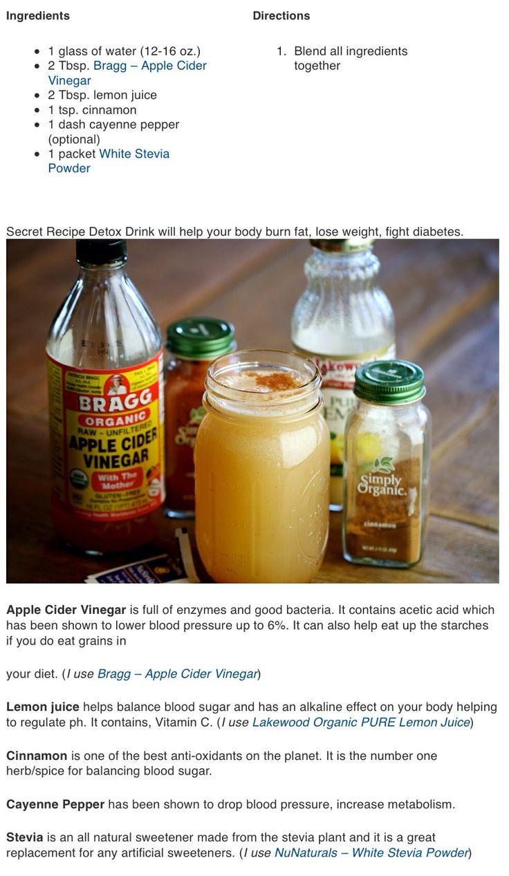 Organic Apple Cider Vinegar Recipes  Detox recipe Natural detox Healthy Me