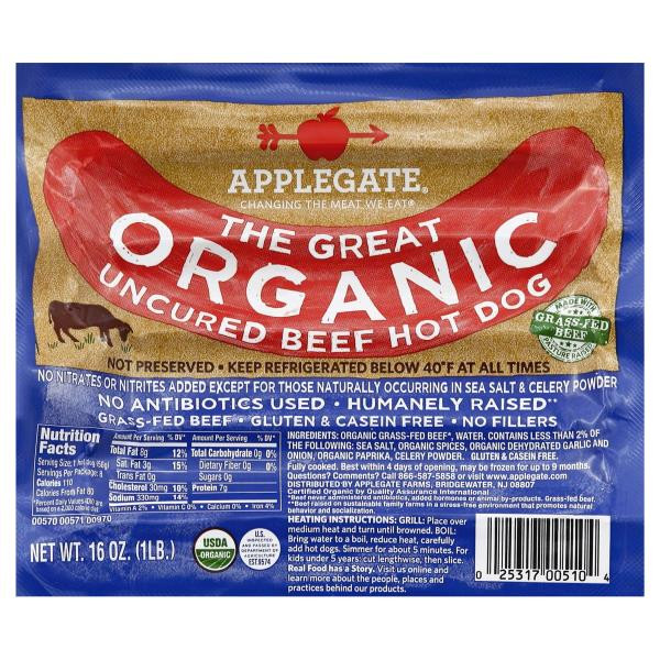 Organic Beef Hot Dogs  Applegate Hot Dogs Uncured Beef Organic Be My Shopper