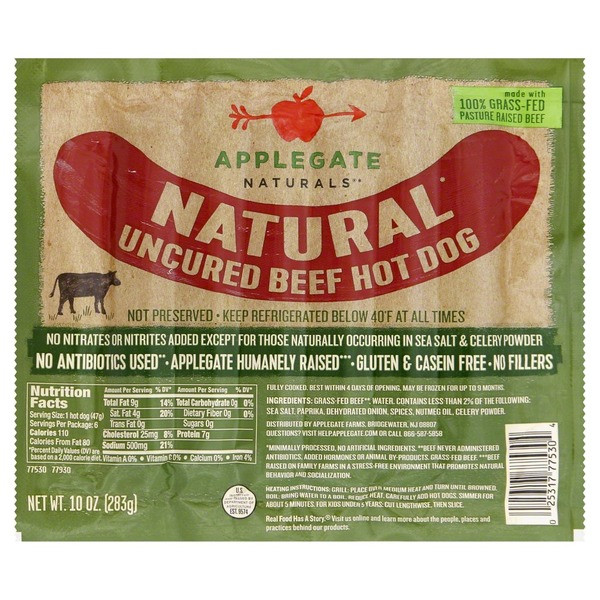 Organic Beef Hot Dogs  Applegate Natural Uncured Beef Hot Dog from Food Lion