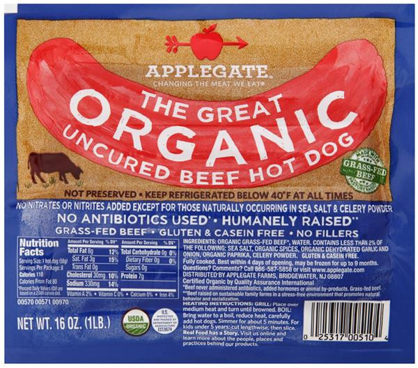 Organic Beef Hot Dogs  Applegate Beef Hot Dog Uncured Organic