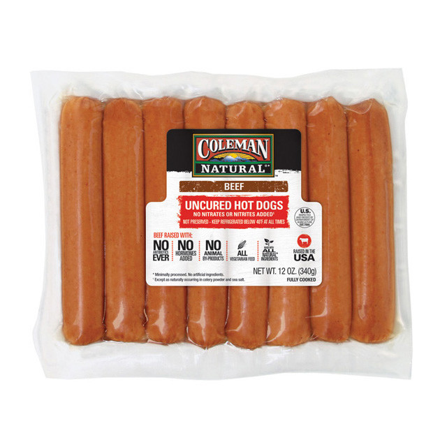 Organic Beef Hot Dogs  COLEMAN NATURAL Beef Uncured Hot Dogs 12 oz