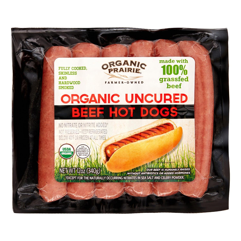 Organic Beef Hot Dogs  Organic Prairie Grassfed Beef Hot Dogs 0 75 Lb