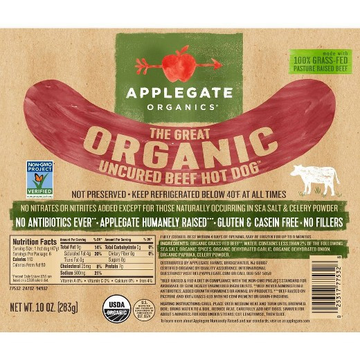 Organic Beef Hot Dogs  Applegate Farms Organic Beef Hot Dog 10oz Tar