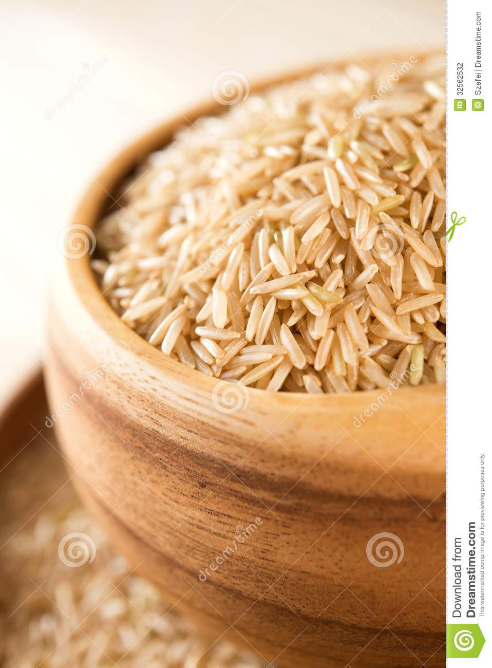 Organic Brown Basmati Rice  Uncooked Organic Basmati Brown Rice Stock graphy