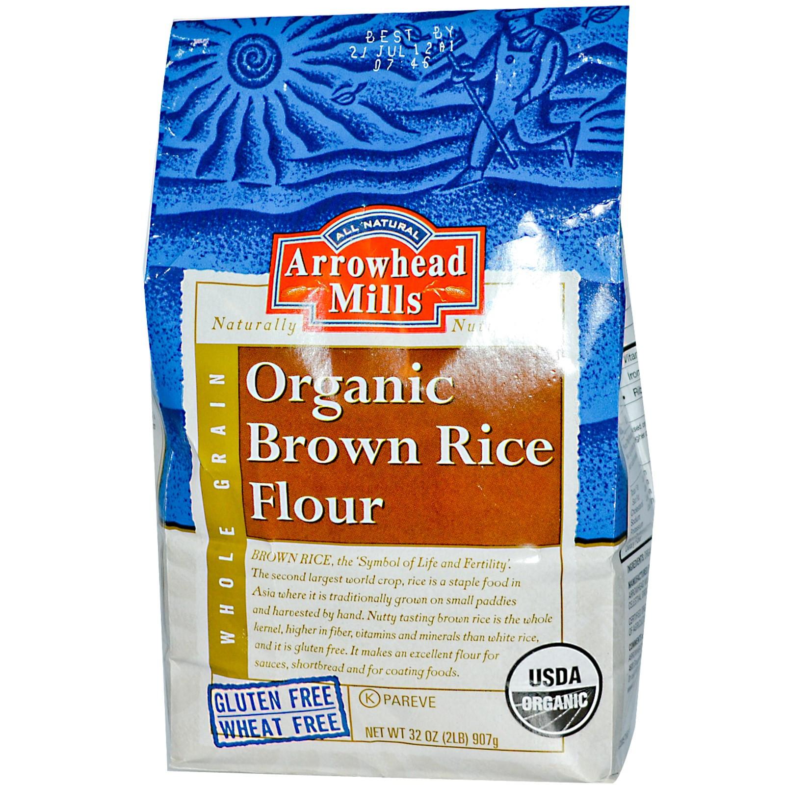 Organic Brown Rice Flour  Arrowhead Mills Organic Brown Rice Flour 32 oz 907 g