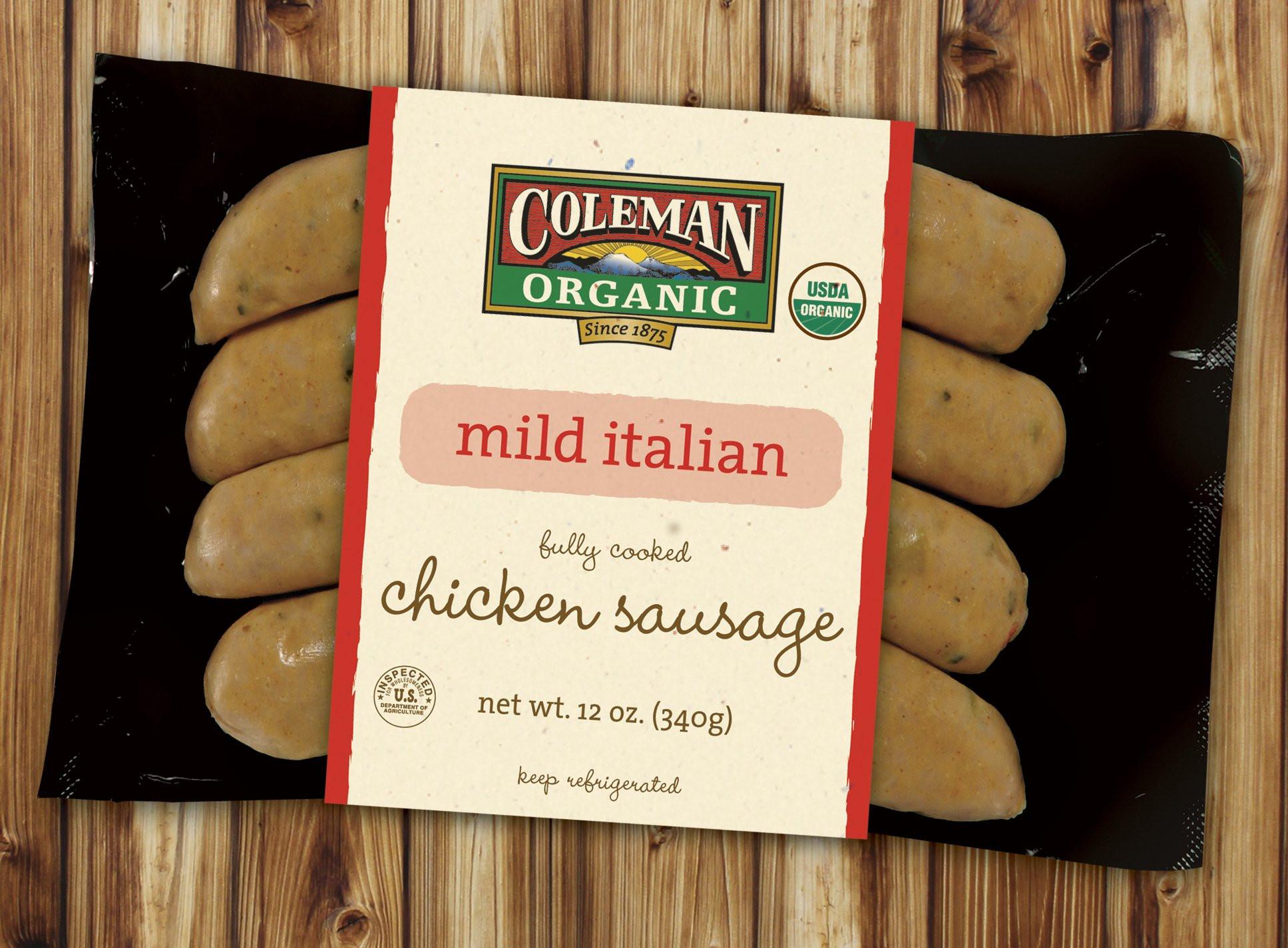 Organic Chicken Sausage  Coleman Organic sausage
