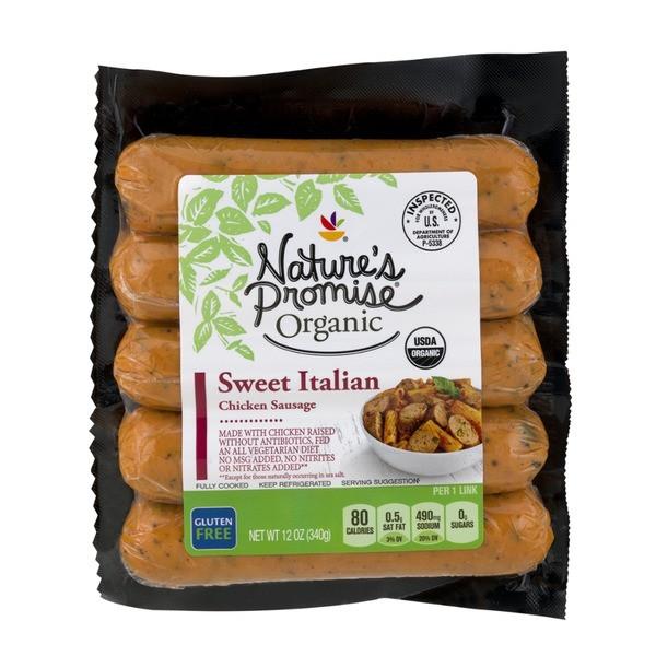 Organic Chicken Sausage  Nature s Promise Organic Chicken Sausage Sweet Italian 12