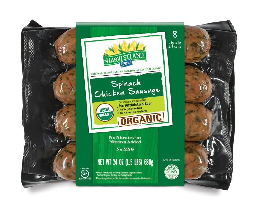Organic Chicken Sausage  PERDUE HARVESTLAND Organic Spinach Chicken Sausage