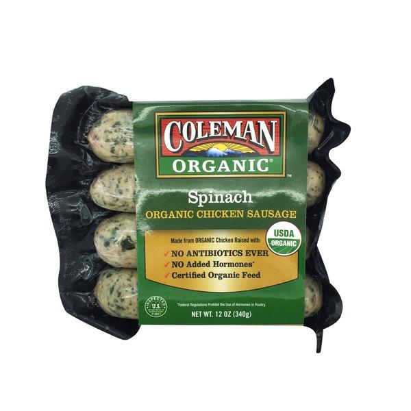 Organic Chicken Sausage  Coleman s Spinach Organic Chicken Sausage 12 oz from