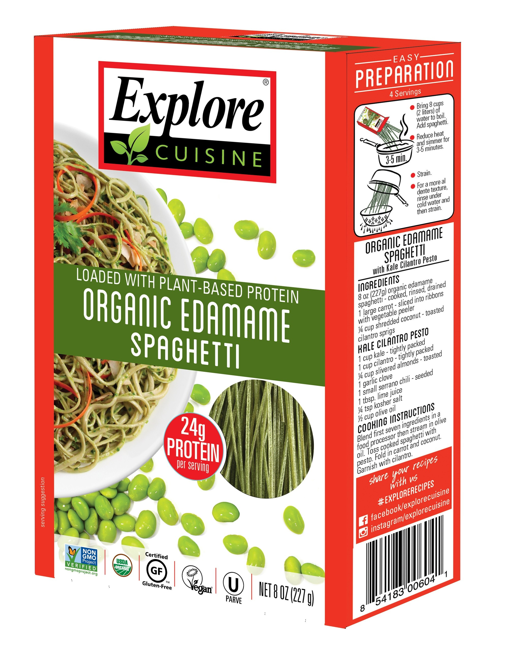 Organic Edamame Spaghetti  ORGANIC Edamame spaghetti BEAN PASTAS PRODUCTS