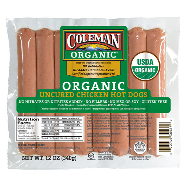 Organic Hot Dogs  COLEMAN ORGANIC Uncured Chicken Hot Dogs 12 oz