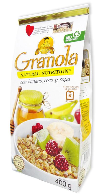 Organic Oats And Soybeans  GRANOLA Whole Oats 400g Granola coconut banana and soy