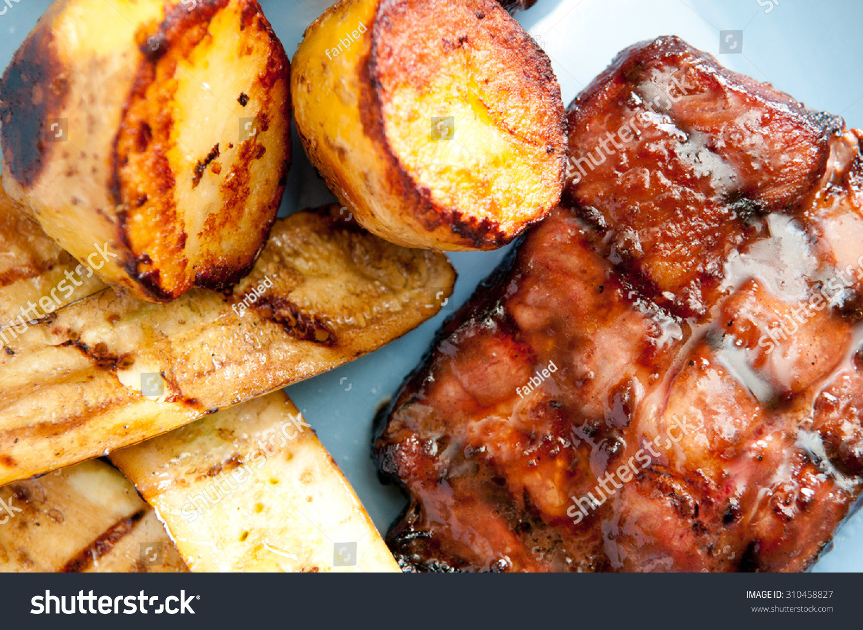 Organic Pork Chops  Barbequed Organic Pork Neck Chops Roasted Stock