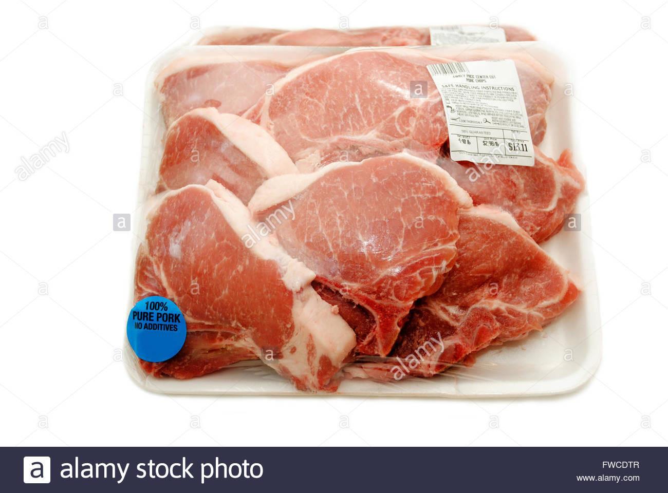 Organic Pork Chops  Raw Packaged Organic Packaged Pork Chops Stock
