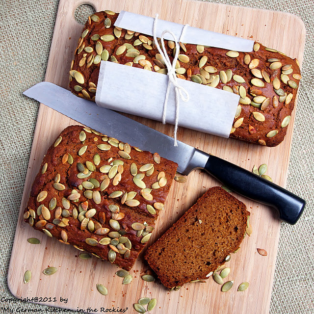 Organic Pumpkin Bread  Organic EVOO Pumpkin Bread with Pumpkin Seed Topping My