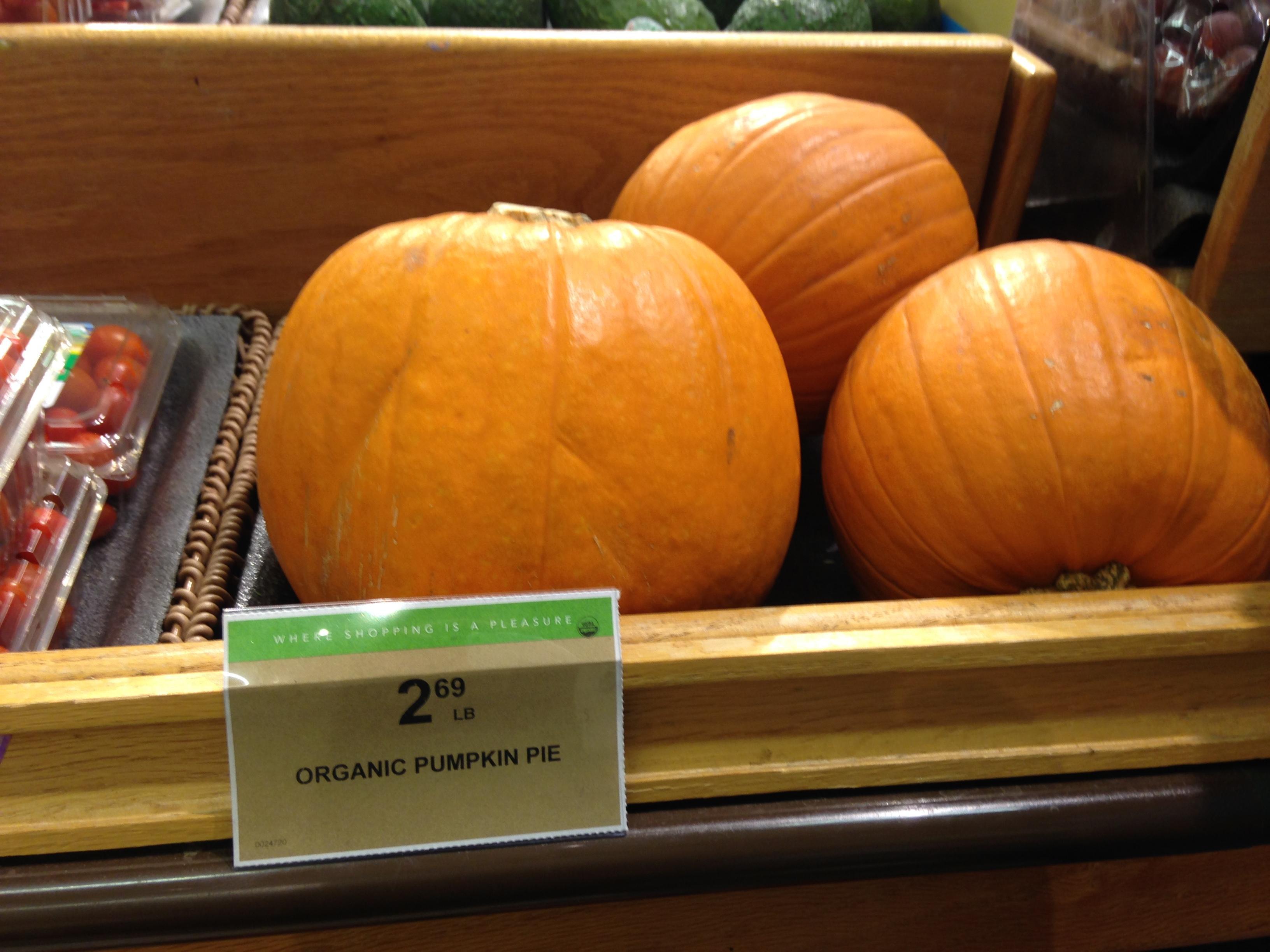 Organic Pumpkin Pie  Found some REALLY organic pumpkin pie at my local