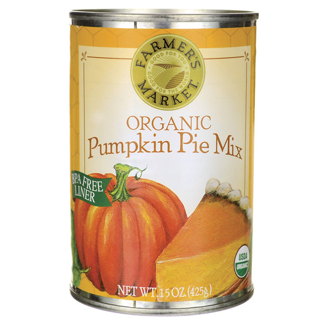 Organic Pumpkin Pie  Farmer s Market Organic Canned Pumpkin Pie Mix 15 oz Can