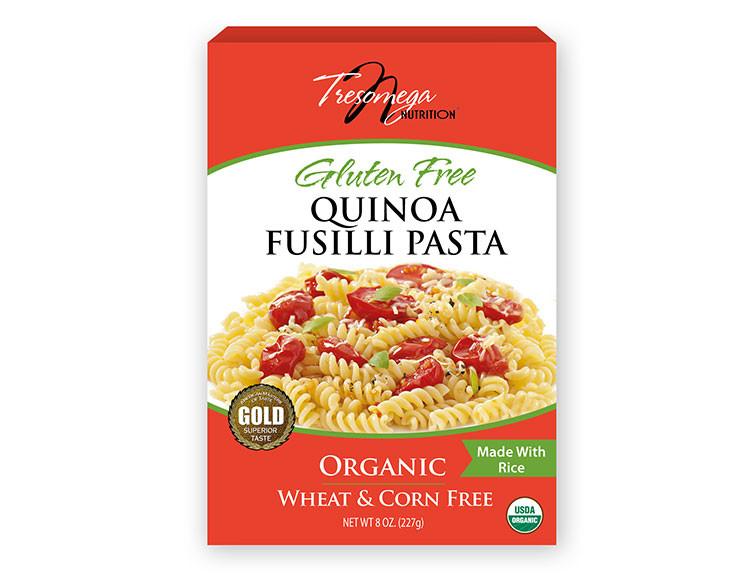 Organic Quinoa Pasta  Organic Quinoa Pasta Fusilli 8oz TresOmega Nutrition