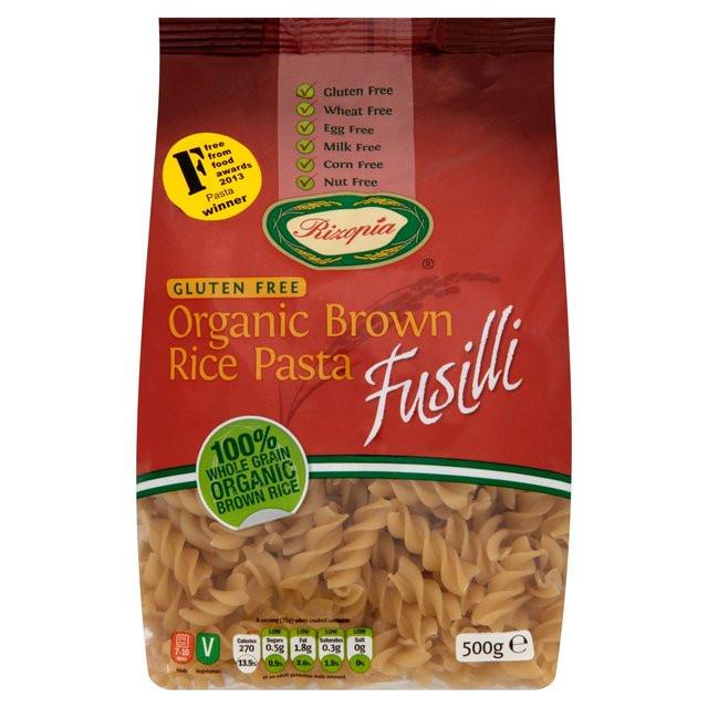 Organic Rice Noodles  Rizopia Free From Organic Fusilli Brown Rice Pasta 500g