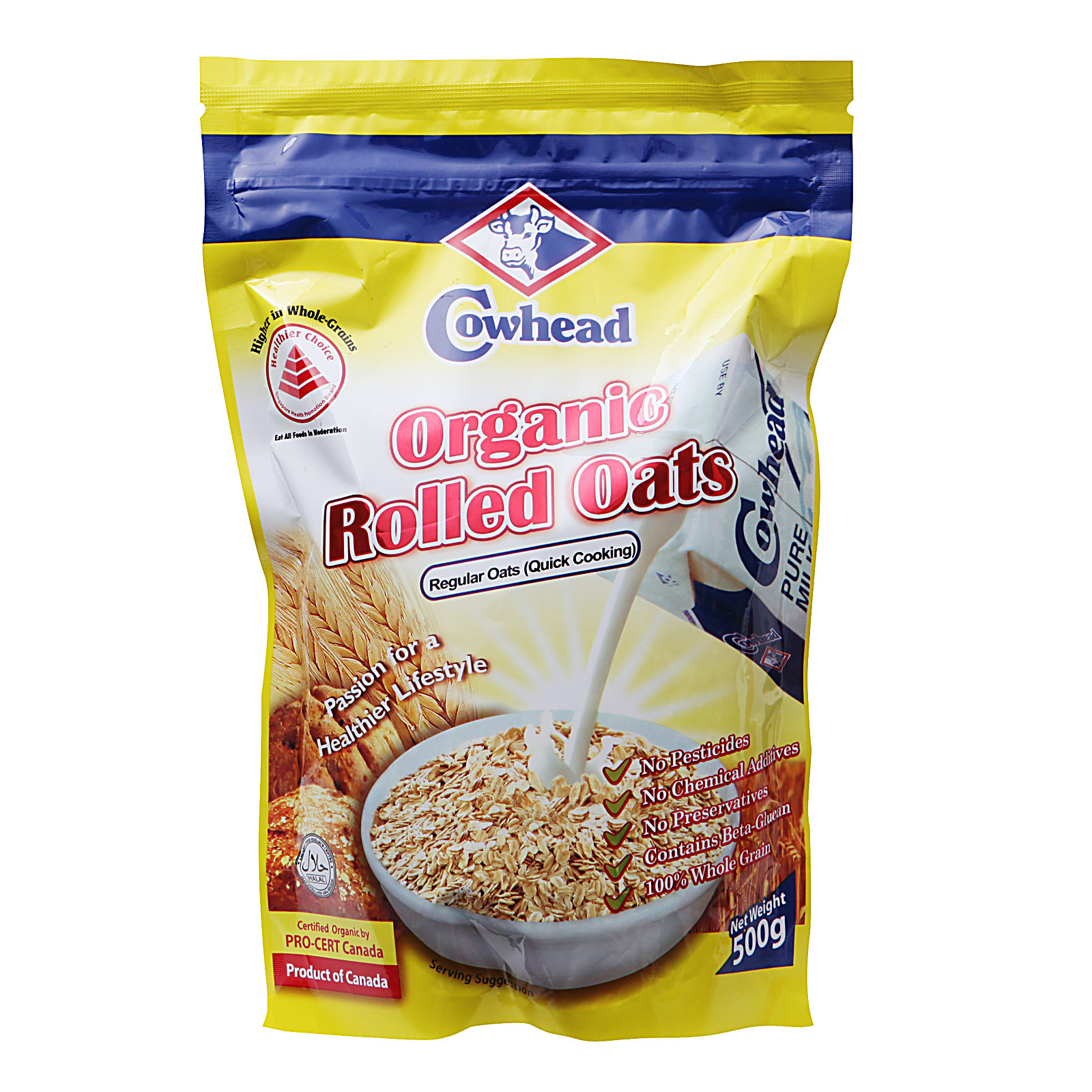 Organic Rolled Oats  Cowhead Regular Quick Cooking Organic Rolled Oats