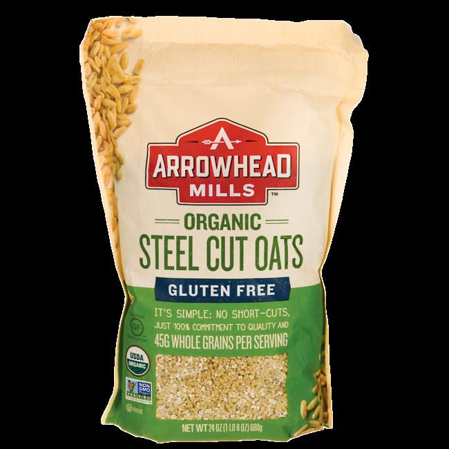 Organic Steel Cut Oats  Arrowhead Mills Organic Steel Cut Oats Gluten Free 24 oz