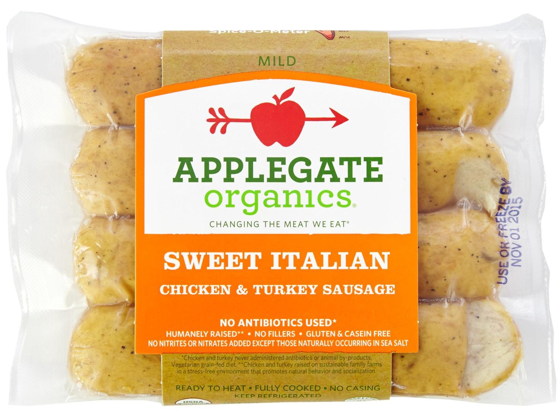 Organic Turkey Sausage  Applegate Organic Sweet Italian Chicken & Turkey Sausage
