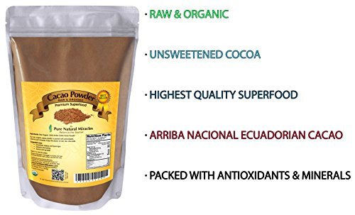 Organic Unsweetened Cocoa Powder  Pure Natural Miracles Raw Organic Cacao Powder Best