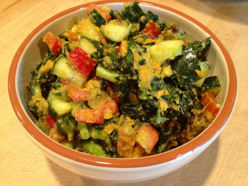 Organic Vegetarian Recipes  Sweet Potato Kale Salad Raw Vegan Transition Recipe